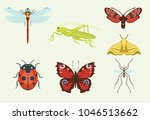 vector insects icons isolated... | Shutterstock .eps vector #1046513662