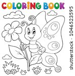 coloring book happy butterfly... | Shutterstock .eps vector #1046523595