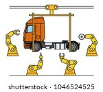 thin line style truck assembly... | Shutterstock .eps vector #1046524525