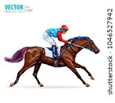 jockey on horse. champion.... | Shutterstock .eps vector #1046527942