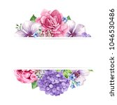 floral background in watercolor ... | Shutterstock .eps vector #1046530486