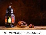 ramadan concept. dates close up ... | Shutterstock . vector #1046533372