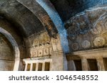 Small photo of Architectural detail in Pompei, Italy. Ornate ceiling of a historic house in Pompei.