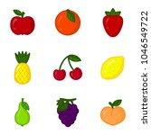 vector set of cartoon fruit... | Shutterstock .eps vector #1046549722