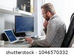 investor analyzing stock market ... | Shutterstock . vector #1046570332
