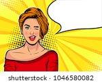 winking girl. cartoon comic... | Shutterstock .eps vector #1046580082