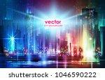 city  night panorama ... | Shutterstock .eps vector #1046590222