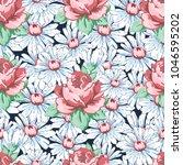 rose and chamomile flower hand... | Shutterstock .eps vector #1046595202