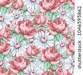 rose and chamomile flower hand... | Shutterstock .eps vector #1046595862