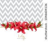 wedding invitation with lily... | Shutterstock .eps vector #1046604136