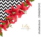 wedding invitation with lily... | Shutterstock .eps vector #1046604142