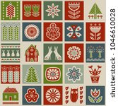 scandinavian folk art seamless... | Shutterstock .eps vector #1046610028