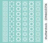 vector set of line borders with ... | Shutterstock .eps vector #1046610256