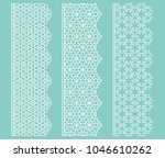 vector set of line borders with ... | Shutterstock .eps vector #1046610262