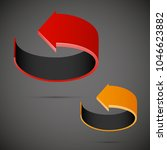 two curved circle arrow ribbon. ... | Shutterstock .eps vector #1046623882