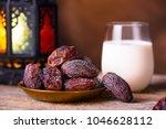 ramadan concept. dates close up ... | Shutterstock . vector #1046628112