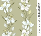 daffodils delicate drawing by... | Shutterstock .eps vector #1046628958