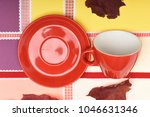 ceramic tableware concept. cup... | Shutterstock . vector #1046631346
