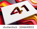 white paper cut number 41 on... | Shutterstock . vector #1046640022