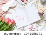 breakfast in bed pastel flat... | Shutterstock . vector #1046658172