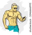 muscle man silhouette graffiti... | Shutterstock .eps vector #1046666995