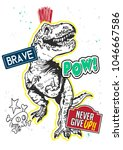 typography slogan with dinosaur ... | Shutterstock .eps vector #1046667586
