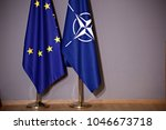 flag of european union and flag ... | Shutterstock . vector #1046673718