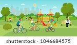 family riding a bicycle... | Shutterstock .eps vector #1046684575
