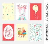 happy easter greeting card set... | Shutterstock .eps vector #1046687692