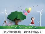 the girl running in the field...   Shutterstock .eps vector #1046690278