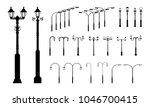 set of various street pole lamp ... | Shutterstock .eps vector #1046700415