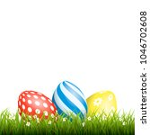 easter background with eggs in... | Shutterstock .eps vector #1046702608