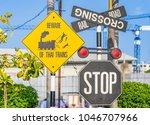 train crossing sign  taken at... | Shutterstock . vector #1046707966