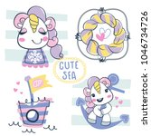 nautical theme with cute... | Shutterstock .eps vector #1046734726