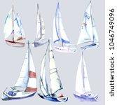 Watercolor.set Of Yachts.hand...