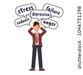 depressed   stressed business... | Shutterstock .eps vector #1046751298
