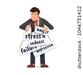 sad business man overburdened... | Shutterstock .eps vector #1046751412