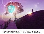 life insurance  shield... | Shutterstock . vector #1046751652