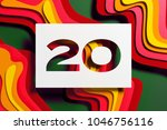 white paper cut number 20 on... | Shutterstock . vector #1046756116