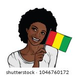 smiling  woman holding flag  of ... | Shutterstock . vector #1046760172
