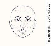 face  front  acupuncture scheme ...   Shutterstock .eps vector #1046766802
