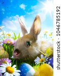 easter bunny  easter eggs and... | Shutterstock . vector #1046785192