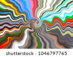 Centered multicolored frilled background. Red, orange, blue, grey frizzy stripes.