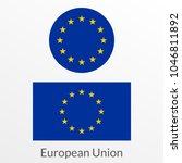 european union flag icon  badge ... | Shutterstock .eps vector #1046811892