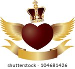 flying red heart with crown...