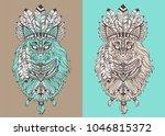 stylish cat shaman | Shutterstock .eps vector #1046815372