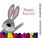 rabbit with eggs for the happy... | Shutterstock . vector #1046818282