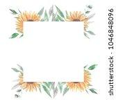 sunflower floral frame square... | Shutterstock . vector #1046848096