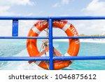 life preserver on a ferry near...   Shutterstock . vector #1046875612