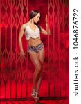 Small photo of luxury fitness girl with black hair stands in small white knitted top and short denim shorts, alone in red smoke in the background of the huge iron gates